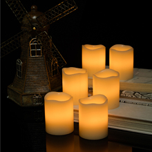 Kohree 6 Set Real Wax Flameless Candles with Built-in Daily-Cycle Timer, Outdoor Battery Operated Led Candles Light(China)