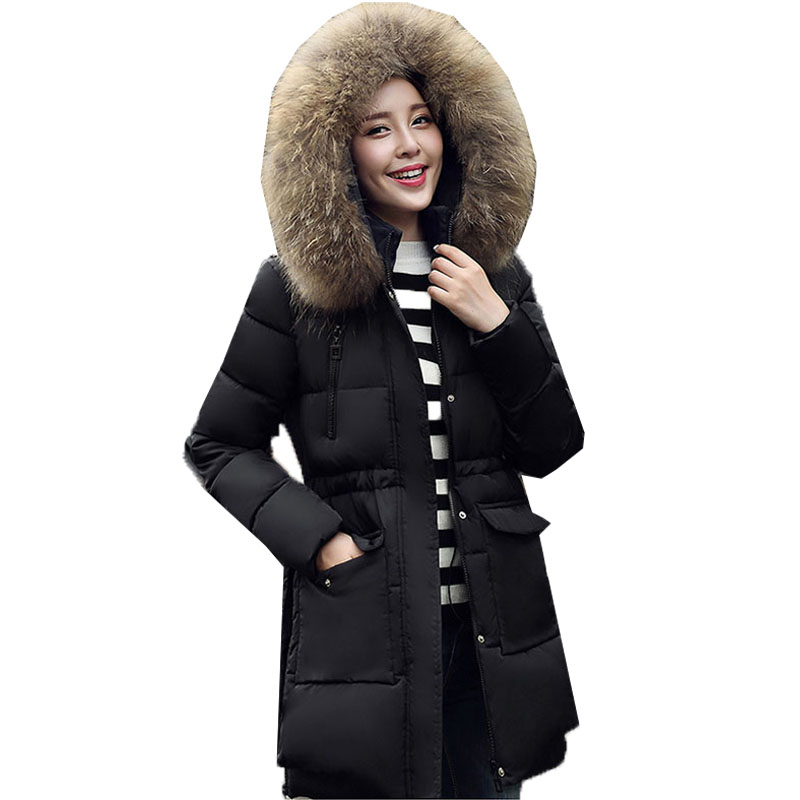 New Winter Warm Women Faux Fur Collar Hooded Long Sleeve Zipper Cotton Down Padded  Jacket Casual Long Hoodies Coat Parka Outwear