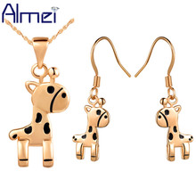 Almei Dubai Cheap Rose Gold Color Animal Costume Jewelry Set for Women Cute Deer Pendant Necklace Earrings Jewellery Sets T254
