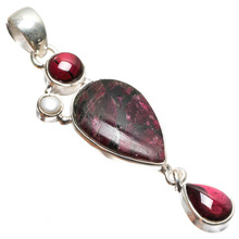 "StarGems(tm) Natural Ruby Zoisite,River Pearl and Amethyst Mexican 925 Sterling Silver Pendant 2 1/4""(China)"