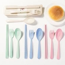 3PC/Set  New Arrival Portable Plastic Dinnerware Sets Eco-Friendly Wheat Straw Tableware Set For Children School Picnic Cutlery