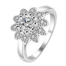 Wholesale Silver Color Plated Flower Plant Beautiful  Fashion Jewelry, Inlaid Stone Sunflower Ring