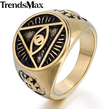 Trendsmax Illuminati pyramid eye symbol Gold-color 316L Stainless steel Signet Ring Mens Jewelry HR365(Hong Kong)