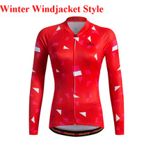 2017 Womens red geometry Winter Thermal Fleece Long Sleeve Cycling wind Jacket Ropa Ciclismo Invierno