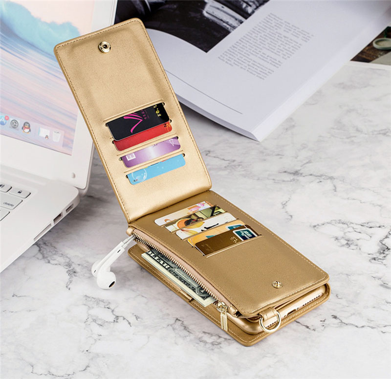 4 in 1 Leather Wallet Bag Case for iPhone X 6 6s 7 8 Plus Detachable Phone Cover Card Slot Girl Women Shoulder Bag Handbag Pouch (26)