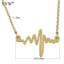 YYW New Fashion European Style Punk Gold Color Choker Chain Stainless Steel Jewelry Heart Beat Charm Pendant Necklace Woman(China)