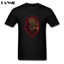 Angry Grizzly Bear Men T-shirt Plain Shirt Men Boy Short Sleeve Crewneck Cotton Big Size Clothes For Teenage(China)