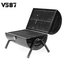 Portable Barrel Barbecue Grill BBQ Oven Folding Garden Outdoors Camping Meat Party Cookware BBQ Tools Accessories Black