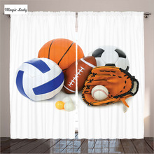 The Games Curtains Living Room Bedroom Sports Balls Championship Ping Pong Volleyball Olympics Concept 2 Panels Set 145*265 sm