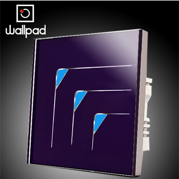 Free Shipping,Wallpad Top Purple Crystal Glass Switch Panel,3 Gangs 2 Way,110~250V Touch Screen Wall Light Switch LED Indicator<br>