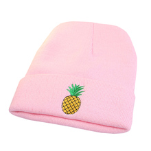 Winter Women Girl Rose Embroidered Pineapple Beanie Stocking Cap Hiking Cuffed Knit Hat Warm Skull Caps Bonnet Gorro New Hat