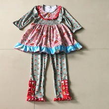 Autumn 100% Cotton Novel Coordinate Clothes And Baby Girl's Flower Print Same Style Pants and Sets Apparel Accessory For Present(China)