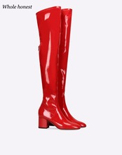 2018 Winter Boots Pu Botas Mujer Wome Sexy Fashion New Spring Autumn Over-the-knee High Top Ladies Elegant High-heeled Shoes(China)