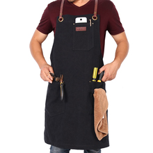 WEEYI Vintage Canvas Work Shop Apron Waterdrop Resistant Cross Back Genuine Leather Strap with Towel Loop Small to XXL Unisex