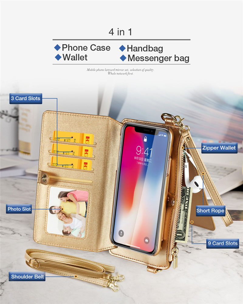 4 in 1 Leather Wallet Bag Case for iPhone X 6 6s 7 8 Plus Detachable Phone Cover Card Slot Girl Women Shoulder Bag Handbag Pouch (33)