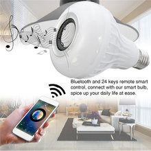 Smuxi E27 LED RGB Wireless Bluetooth Speaker Music Smart Light Bulb 15W Playing Lamp + Remote Control Decor for iOS Android
