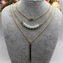 2016 Geometric Sequins Multilayer Chain Necklace Charming Jewelery Accessories(China)