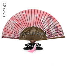 Free Shipping 10pcs Butterflies Sakura Folding Hand Fan 100% Silk Bamboo Asian Pocket Fans with Tassel Craft Supplies Matrimonio(China)