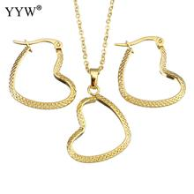 Fashion Stainless Steel Jewelry Sets earring & necklace Heart gold color plated oval chain for woman Approx 18 Inch Sold By Set