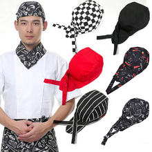 Newest Striped Pirate Ribbon Skull Cap Professional Kitchen Catering Cook Chef Hat(China)