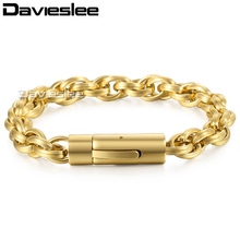 Davieslee Mens Bracelet Triple Cable Link Stainless Steel Chain Customize Gunmetal Gold Silver Black Tone 9mm LKBM153(China)