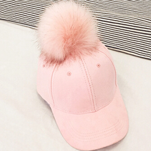 New Fashion 2017 New Style Women Faux Fox Fur Pompom Baseball Caps Light Tan Ball Suede Cap Hip-hop Hat Gorros Para El Sol(China)