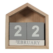 Modern Design Perpetual Wood Calendar Desk Wood Block decoration Artcraft Yearly Planner For HOME Office Ornaments(China)