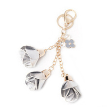 Buy Women Gold Metal Keyring Bag Charm Keys porte cle llaveros mujer sleutelhanger Jewelry Keychain Leather Rose Flower Keychain for $2.49 in AliExpress store