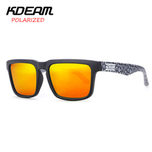 KDEAM Cool Color Block Men Sport Sunglasses Square Frame Sun Glasses HD Polarized Mirror lens UV400 With Hard Case KD901P-C13(China)