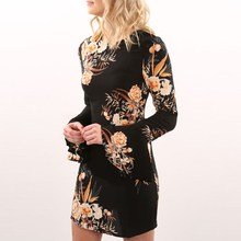 Casual Party Evening Wear Women Floral Print Gowns Dress Autumn Fashion Long Sleeve Round Neck Ladies Sexy Short Pencil Dresses