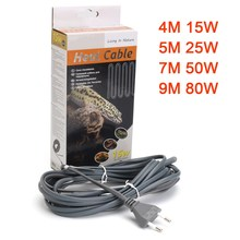 Reptile Heat Cable Grey Silicone For Vivarium Bottom Infrared Heat Emitter Bulb Light Lamp 4M/5M/7M/9M 15W/25W/50W/80W