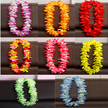 100cm Flower Hawaiian Beach Party Hula Garland Leis Necklace Lei Wreath Birthday Party Supplies Wedding Favors 8color