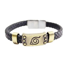Naruto Braid Leather Bracelets & Bangles Hot Anime Akatsuki Itachi Konoha Logo Alloy Bracelet Wristband Cosplay Jewelry(China)