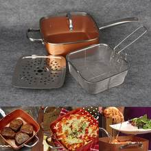 Nonstick Copper Pan Pots Cooker Induction Glass Lid Fry Filter Basket Steam Rack Chef Cooking Tool Kitchen Cookware Set 4Pcs/Lot(China)