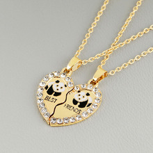"Broken Heart 2 Parts Animal Panda ""best Friend"" Love Pendant Necklace Couple Gift Necklace 2 Pcs/set(China)"