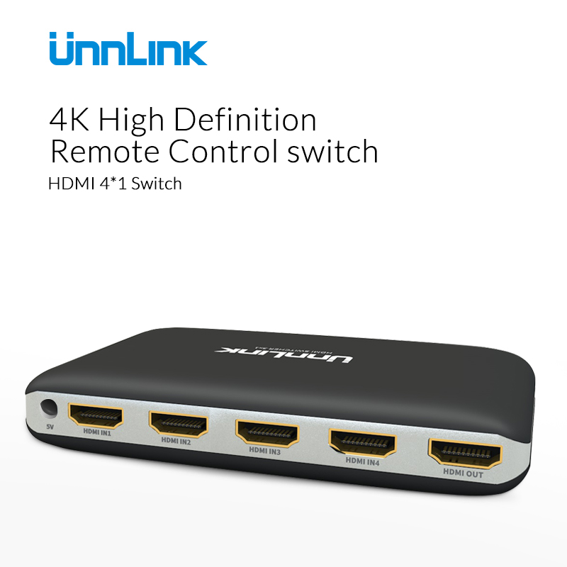 Unnlink Profession HDMI Switch Switcher 4*1 HDMI Splitter Converter EDID R232 4K 3D For XBOX 360 PS4/3 Smart Android HDTV