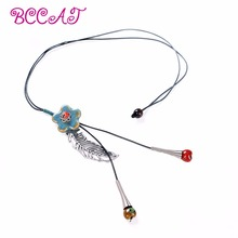 wholesale Bohemian national ornaments women's long-term handmade ceramic beads sweater chain decorated with Large Necklace