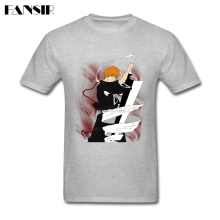 Big Size Ichigo Kurosaki Soul Reaper Bleach Popular T-shirts For Men White Short Sleeve Custom Men T-shirts Adult Clothes Tops(China)