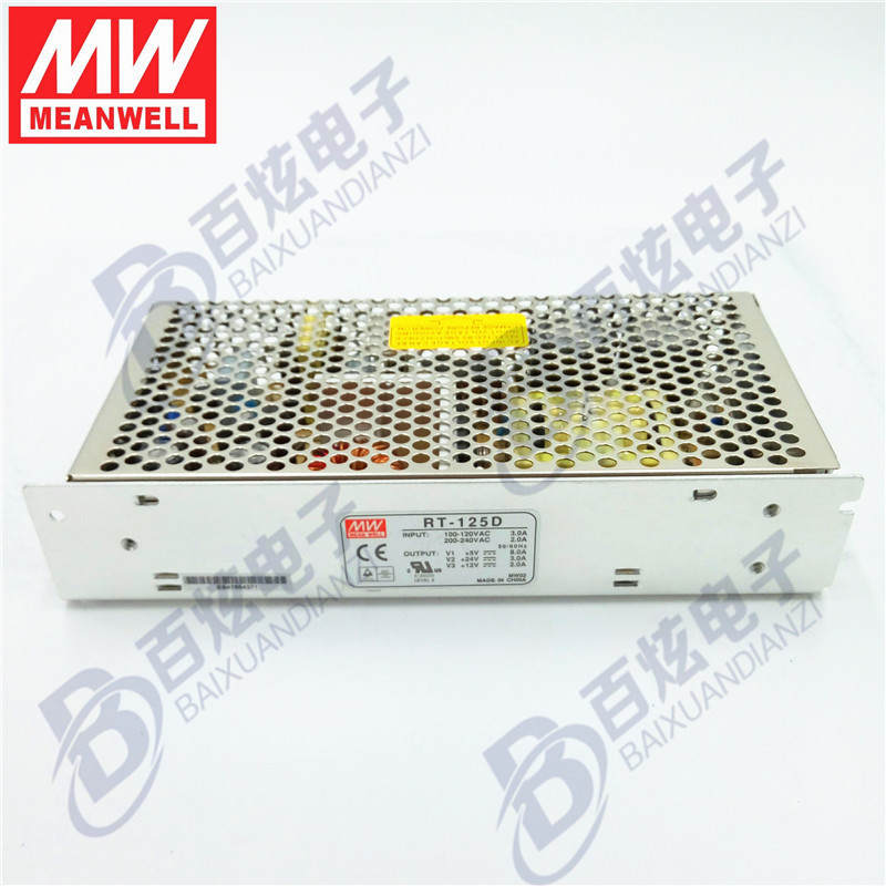 Originele Meanwell  RT-125D  136W Triple output +5V/8A  +24V/3A   12V/2A   Voeding 3years Warranty<br>