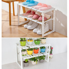 Multifunction Kitchen Storage Rack Double Layer Flower Pot Stand Shoes Rack Flower Shelves Floor Standing Coat Rack Holder(China)