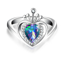 Colored crown ring Crown Shape Charming Sterling Dependable Synthetic Ring Women Can Dropshipping(China)