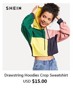 15 Drawstring Hoodies Crop Sweatshirt