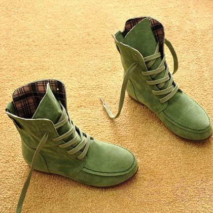 Short Barrel women comfort Ankle shoes nubuck woman Suede Footwear wide flats lady Lace up DR Martins boots Khaki green red gray<br>