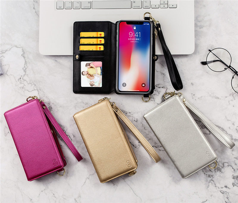 4 in 1 Leather Wallet Bag Case for iPhone X 6 6s 7 8 Plus Detachable Phone Cover Card Slot Girl Women Shoulder Bag Handbag Pouch (12)