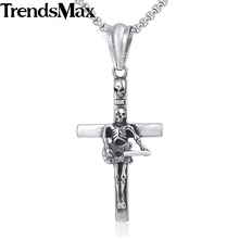 Trendsmax Guitar Skull Cross Pendant Necklace Gothic Mens Chain 316L Stainless Steel Box Link Silver 18-36inch KHP549(Hong Kong)