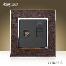 New Arrival Wallpad Hotel TV RJ45 Socket Goats Brown Leather Cover Television Internet Data Jack Wall Socket Free Shipping(China)