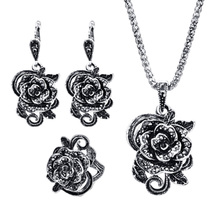 Silver Color Vintage Jewellery Set Fashion Black Crystal Flower Jewelry Sets For Women Wedding Party Birthday Gift