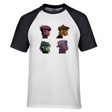 Anime Print Tee Shirt Brand Gorillaz Group Pic Collage Men Funny casual streetwear hip hop printed T shirt(China)