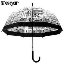 Transparent Umbrellas Automatic Plastic EVA Creative Rain Sunny Women Girls Ladies Long Handle Umbrellas