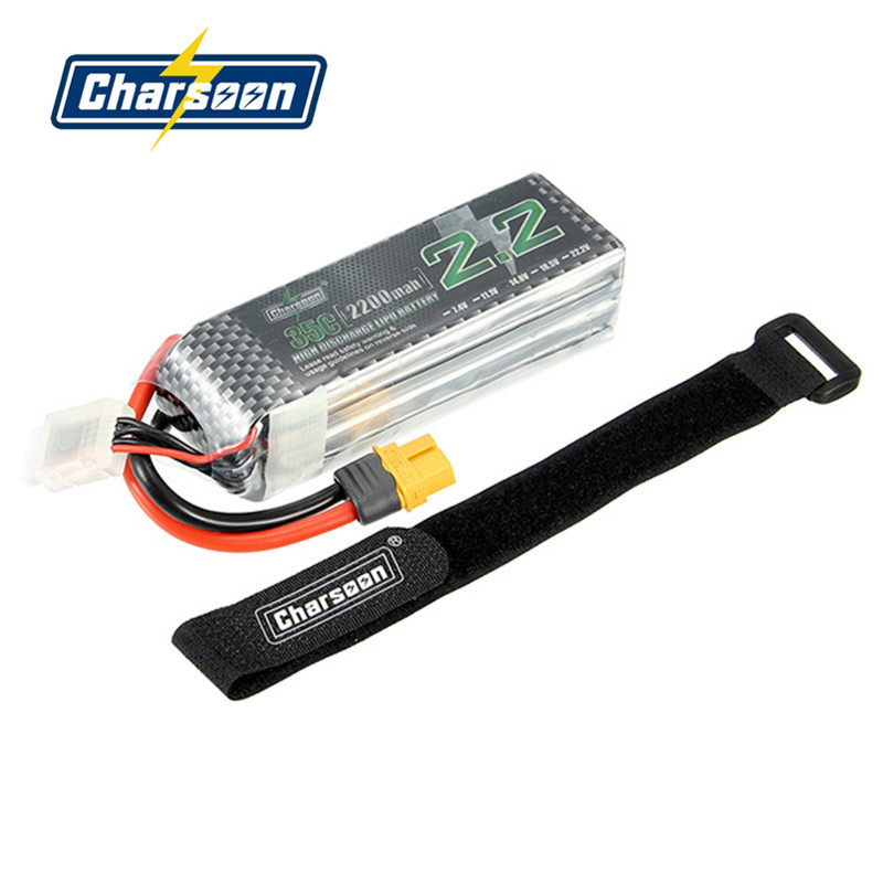 High Quality Rechargeable Charsoon 14.8V 2200mAh 4S 35C Lipo Battery XT60 Plug With Strap<br>